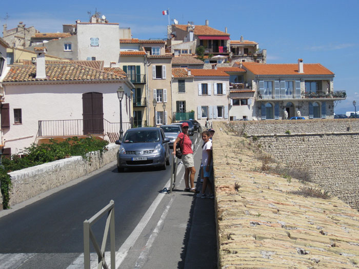 Walking just beyond the old city in Antibes, along the wall