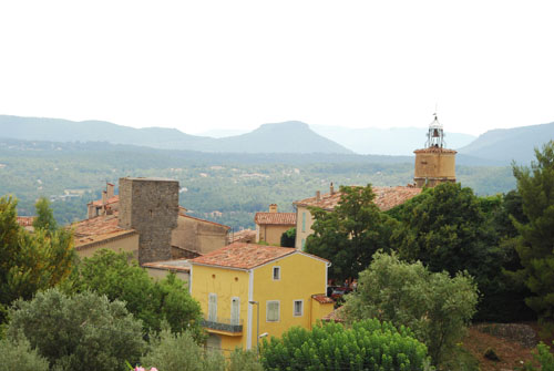 The view from our house, of the town and clock tower in Fayence